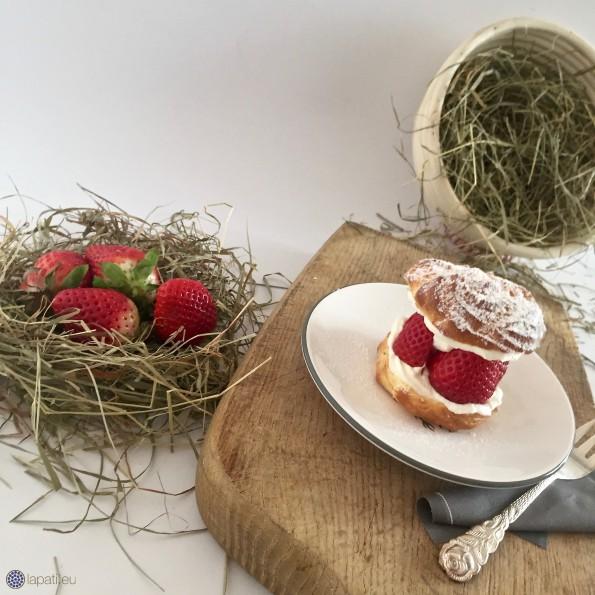 Knusprige Brandmasse, luftige Vanillesahne und süße Erdbeeren: Vereint in meinem Windbeutel