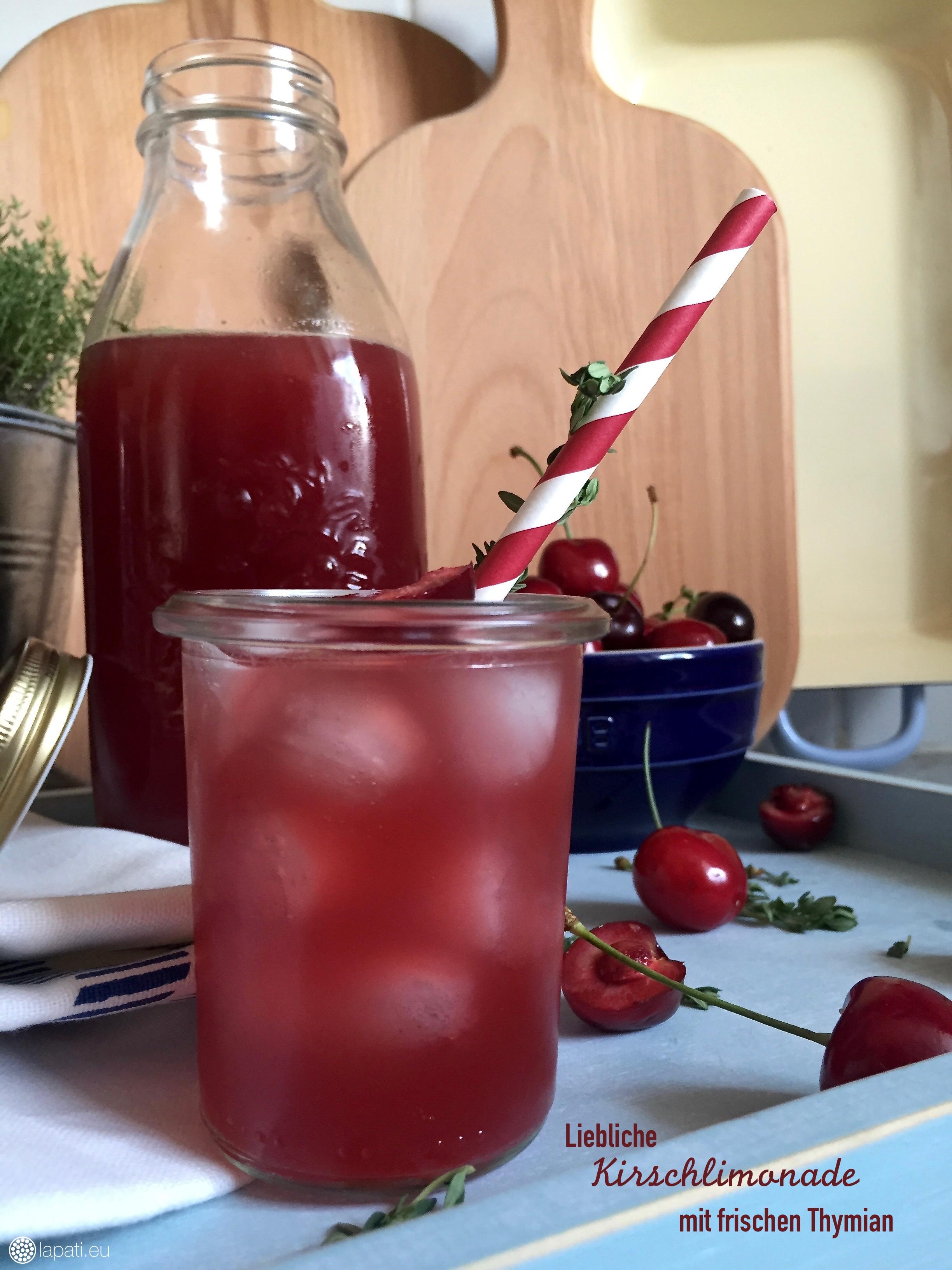 Kleine Abkühlung für heiße Tage. Limo geht immer, heute mit frischer Kirsche und Thymian. Einfach lecker.