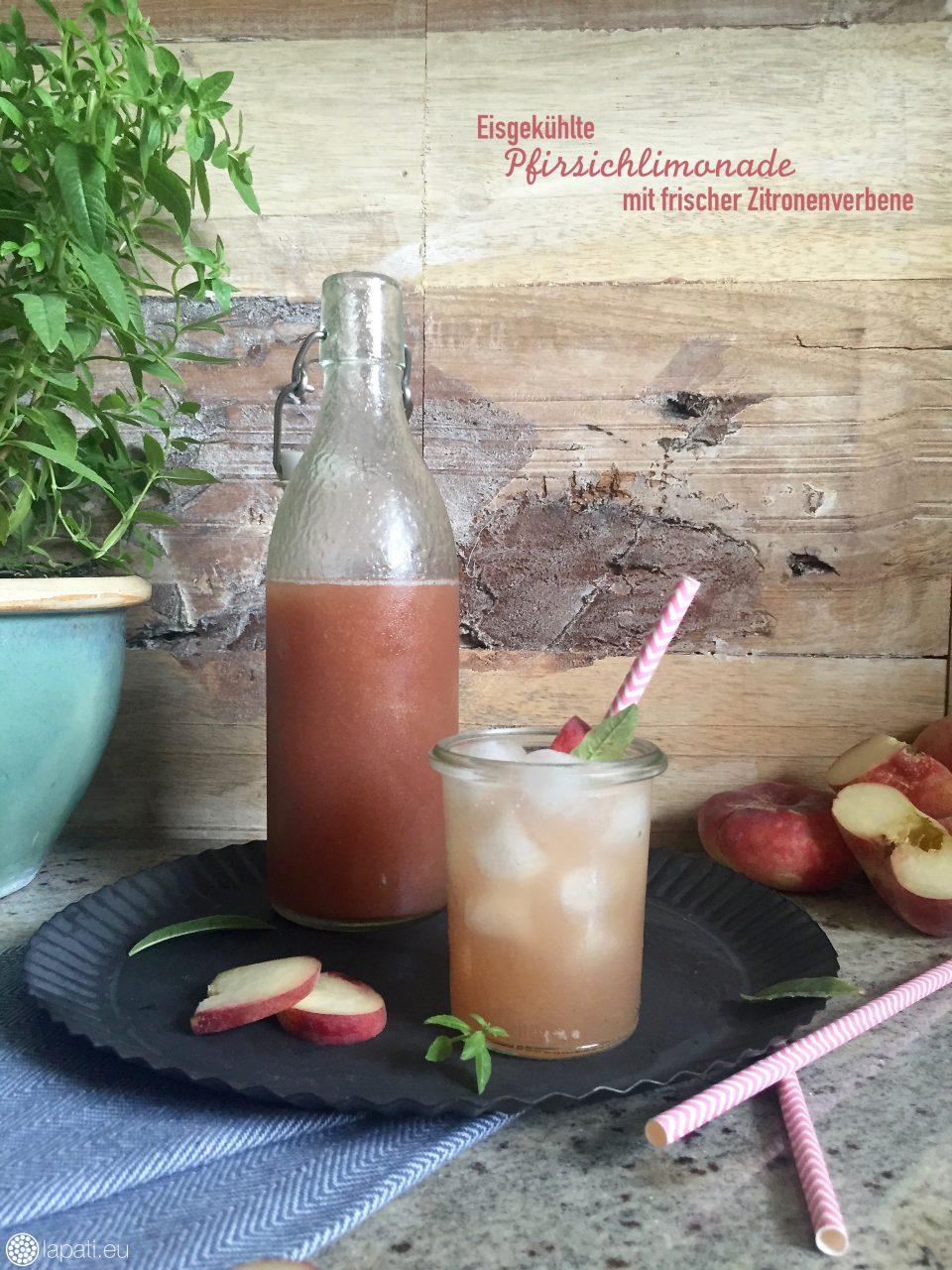 Pfirsich-Verbene-Limonade: Man kann nie genug Erfrischung im Sommer haben, auch als Aperitif mit Prosecco geeignet.