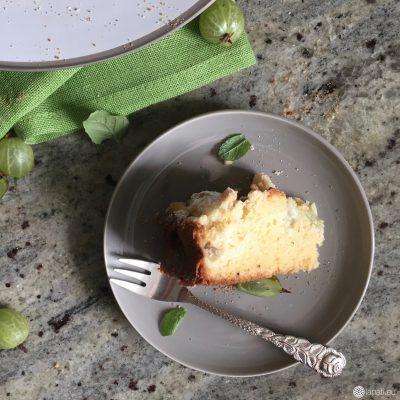 Stück für Stück ein Stück zum großen Kuchenglück mit einem Stachelbeer-Streuselkuchen.