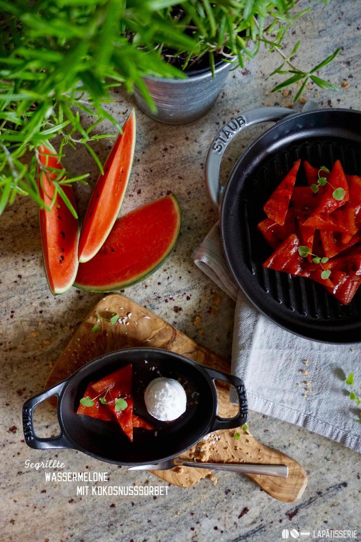 Das wird lecker: Gegrillte Wassermelone mit einem Sorbet von Kokosnuss.