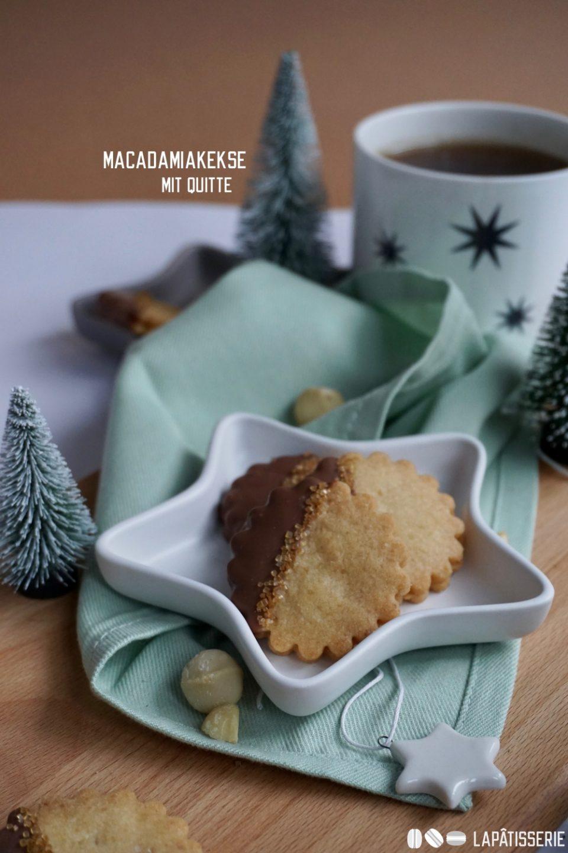 Kurz vorm ersten Advent gibt's Macadamiakekse mit Quittenmarmelade.