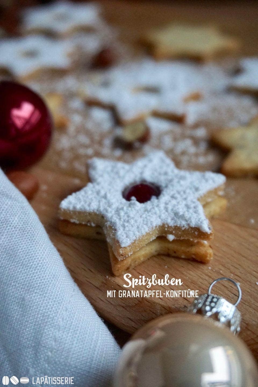 Ein Klassiker der Weihnachsbäckerei: Spitzbuben in der Variante mit Haselnuss und Granatapfel